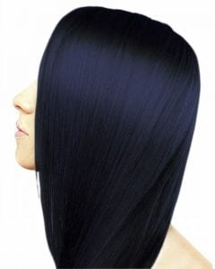 midnight blue pin straight hair